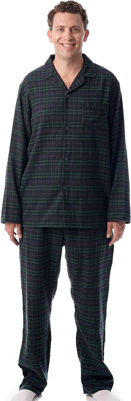 #followme Men's Plaid Button Front Flannel Pajamas Set - Long Sleeve Long Pant