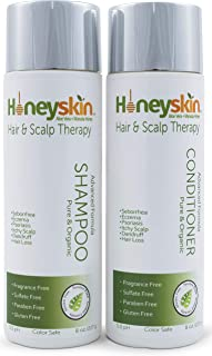 Hair Growth Shampoo and Conditioner Set - with Manuka Honey, Aloe Vera and Coconut Oil - for Frizzy, Itchy and Dry Scalp - Hair Loss and Thinning Treatment - Paraben and Sulfate Free (8 oz)