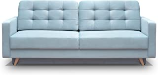 MEBLE FURNITURE & RUGS Vegas Futon Sofa Bed, Queen Sleeper with Storage, Blue