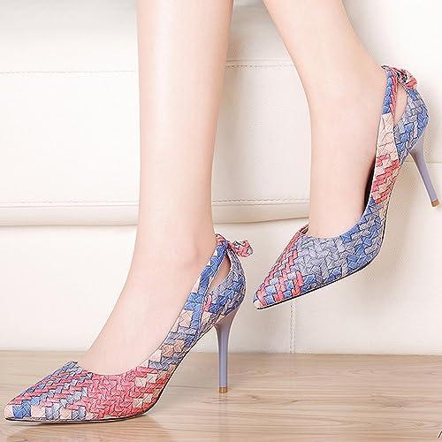 Sandales GYHDDP Femmes Chaussures Printemps Eté Weave Stiletto à Talons 2 Couleur Taille optionnelle en Option (Couleur   B, Taille   34)