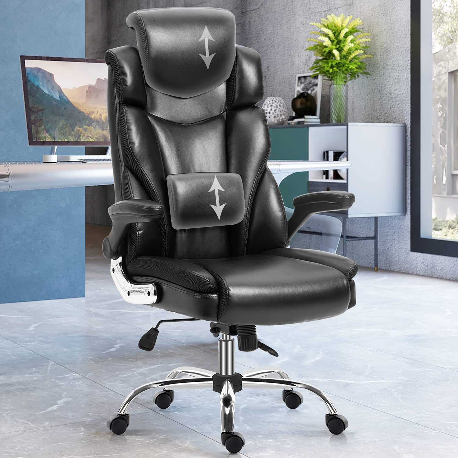 YAMASORO Ergonomic Executive Office Chair Big and Tall for Heavy People,Black PU Leather Computer Desk Chairs for Adults, Adjustable Arms,Lumbar Support,Headrest and Wheels, Home,Comfortable : Office Products