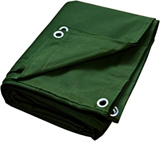 Canvas Tarps Truck Tarp Waterproof UV Resistant 10 OZ Heavy Duty Tarpaulin Cover for Car Boat Camping Firewood Woodpile, 8x10 Feet