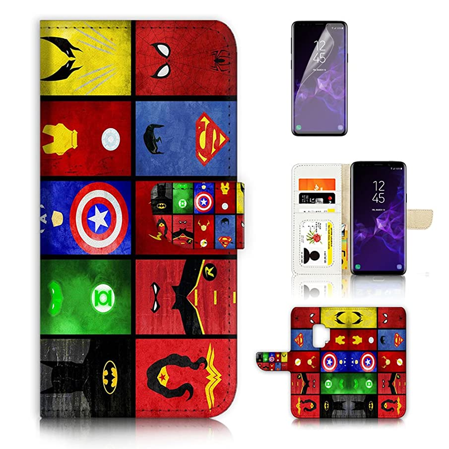 (For Samsung S9+/Galaxy S9 Plus) Flip Wallet Case Cover & Screen Protector Bundle - A0139 Superhero Batman Superman Wonder Woman Collection 0139