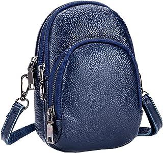 Heshe Womens Soft Leather Small Handbags Shoulder Bag Arm Bags Multi Zipper Pocket Crossbody Purse for Ladies