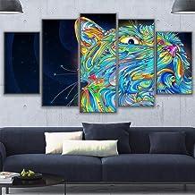 NOBRAND 5 Piezas De Arte De Pared Fotos Gato HD Imprimir En Lienzo Wall Art Home Decor For Living Room (Sin Marco)