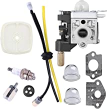 Podoy SRM210 Carburetor for Compatible with Echo Trimmer Parts PE200 Carb Fuel Line Kit Tune Up Primer Bulb Grommet Weed Eater GT200 SRM 210 PE 200 HC150 SRM211 GT200