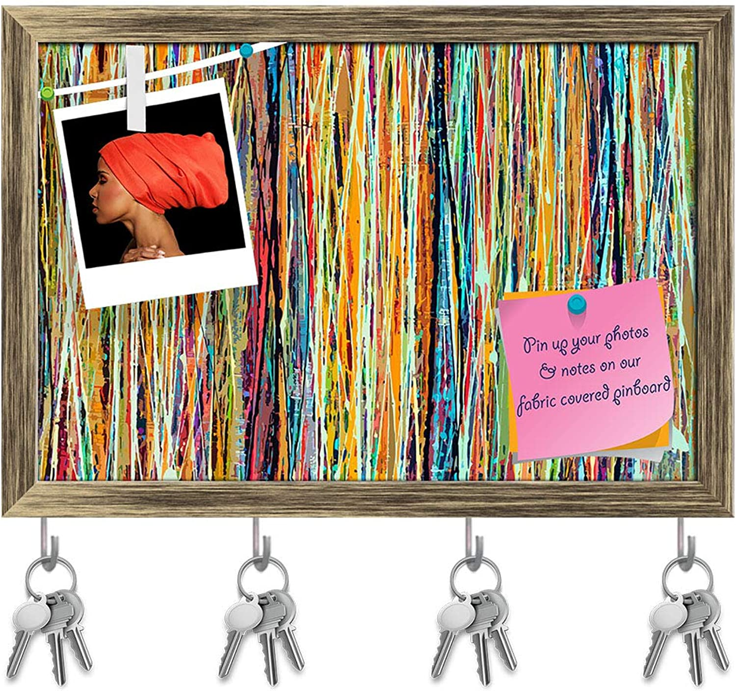 Artzfolio Abstract Stripe Paint D5 Key Holder Hooks   Notice Pin Board   Antique golden Frame 17.6 X 12Inch