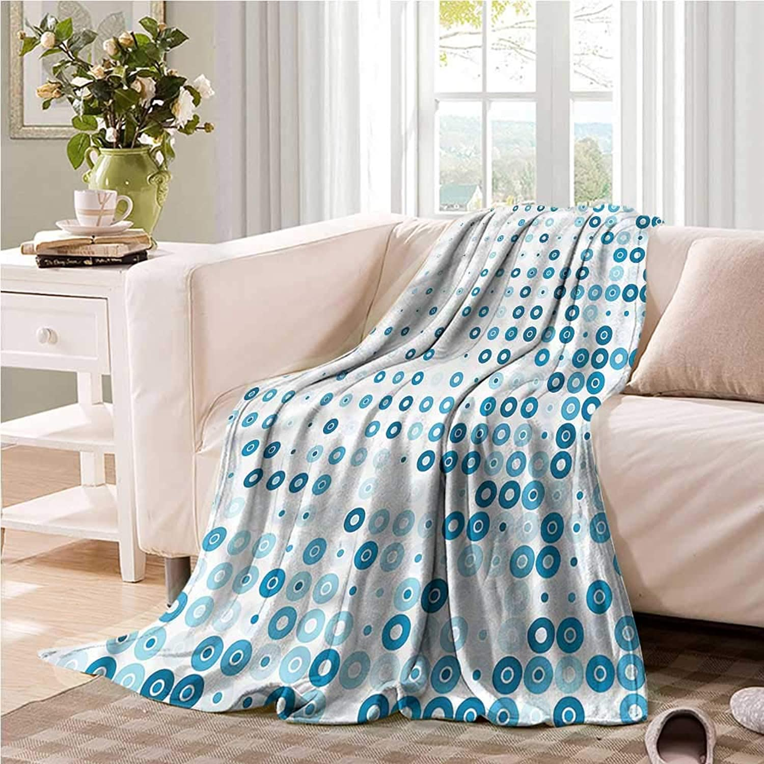 Oncegod Baby Blanket Pale bluee Retro Circles and Dots Camping Throw,Office wrap 60  W x 51  L