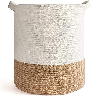 Panier à linge en corde de coton, panier à linge pliable, panier de rangement pour vêtements, couvertures, buanderie, cham...