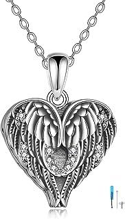 YFN Wings Urn Necklace for Ashes 925 الفضة الاسترليني جارديان الملاك أجنحة urn القلائد القلب مجوهرات الذاكرة للنساء الرجال