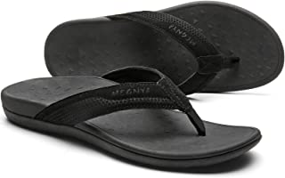 MEGNYA Orthotic Flip Flops for Men, Comfortable Thong Sandals with Arch Support for Flat Feet, Cow Suede Strap Toe Post Slippers for Indoor and Outdoor