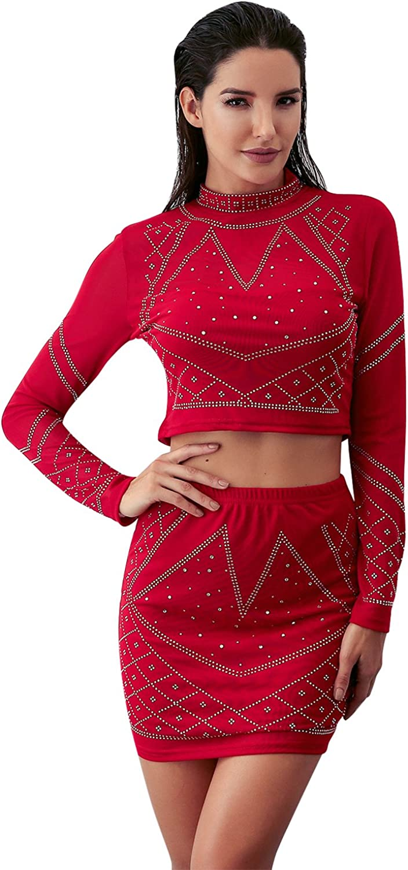 Glamaker Women's 2 Piece Rhinestone Mesh Dress Set Sleeve Mini Bodycon Outfit Dress