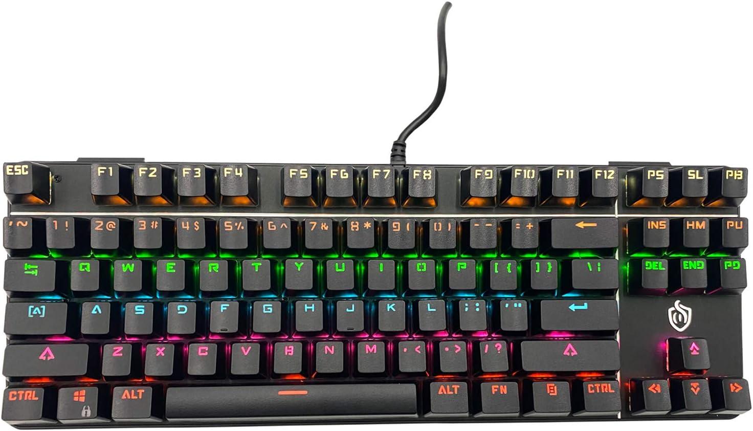 K917 RGB Mechanical Gaming Keyboard 87Key Retro Keyboard-Blue Switch-LED Backlit- Round Keycaps Anti-Ghosting Mechanical Illuminated Keyboard for PC Gaming and MAC (Classic-Black)