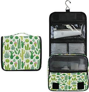 AUUXVA Travel Hanging Toiletry Bag Tropical Cactus Print Portable Cosmetic Make up Bag Case Organizer Wash Gargle Bag Wate...