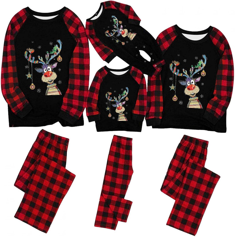 Family Matching Christmas Pajamas Set Xmas Deer Parent-Child Paj