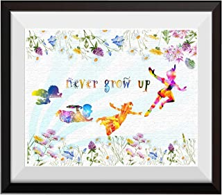 Uhomate Peter Pan Never Grow Up Home Canvas Prints Wall Art Anniversary Gifts Baby Gift Inspirational Quotes Wall Decor Living Room Bedroom Bathroom Artwork C017 (11X14)