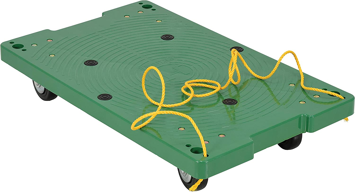 Vestil POS-1830-ROPE Plastic Office Dolly with Pull Rope, 500 lbs Capacity, 30  Length x 18  Width x 6  Height Deck