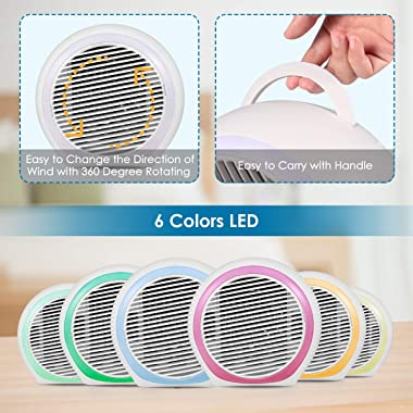 Portable Air Conditioner, Rechargeable Evaporative Air Conditioner with Low Noise 3 Speeds 6 Colors LED Light, Multifunctiona