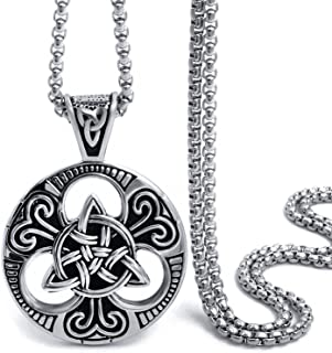 Elfasio Celtic Knot Magic Both Sided Pendant Necklace Men's Stainless Steel Box Chain Jewelry(20-28inch)