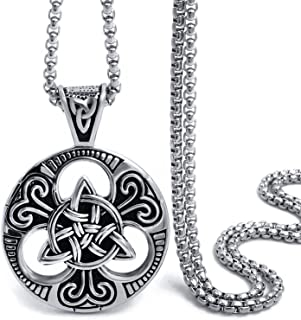 Celtic Knot Magic Both Sided Pendant Necklace Men's Stainless Steel Box Chain Jewelry(20-28inch)