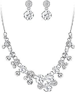 Art Deco Bridal Necklace Clip-on Earrings Set Clear Austrian Crystal Silver-Tone