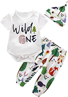 Shalofer Baby Boys Wild One Outfit Funny First Birthday Clothes Set