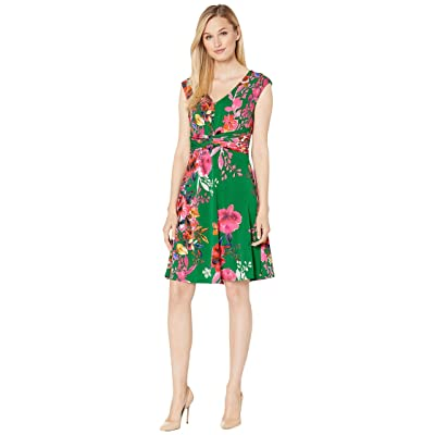 eci Floral Printed Sleeveless V-Neck Fit and Flare Dress (Jade) Women