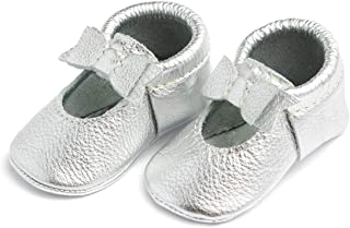 Freshly Picked - Rubber Mini Sole Leather Ballet Flat Bow Toddler Girl Moccasins - Infant/Toddler Sizes 3-7 - Multiple Colors