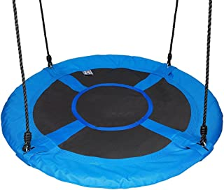 """Gaorui 100cm 40"""" Tree Swing Spinner Kids Swing Seat Saucer Nest Swing Round Ring Large Tire Swing – 200 KG Weight Capacity, Fully Assembled, Easy to Install Blue"""