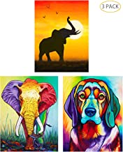 5D Full Drill Diamond Painting Kit,Hartop DIY Diamond Rhinestone Painting Kits for Adults and Beginner,Embroidery Arts Craft Home Office Decor 16 X 12 Inch (3 Pack of Dog Elephants)