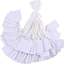 Brothersbox 1000 Pieces White Tags with String Marking Strung Tags writable Tags Display Label for Product Jewelry Clothing Tags, 1.75 x 1.093 inches, Pack of 1000 Pieces