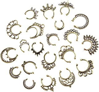 Lovoski Pack Of 21 Fake Nose Ring Stud, Faux Piercing Jewelry, Nose Rings Hoop Set For Faux Lip Septum Nose