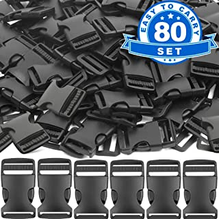 80 Plastic Buckles, YGDZ 1 Inch Buckles Black Flat Side Release Buckles and Tri-Glide Slides, Parachute Buckles for DIY Backpack Luggage Strap Pet Collar
