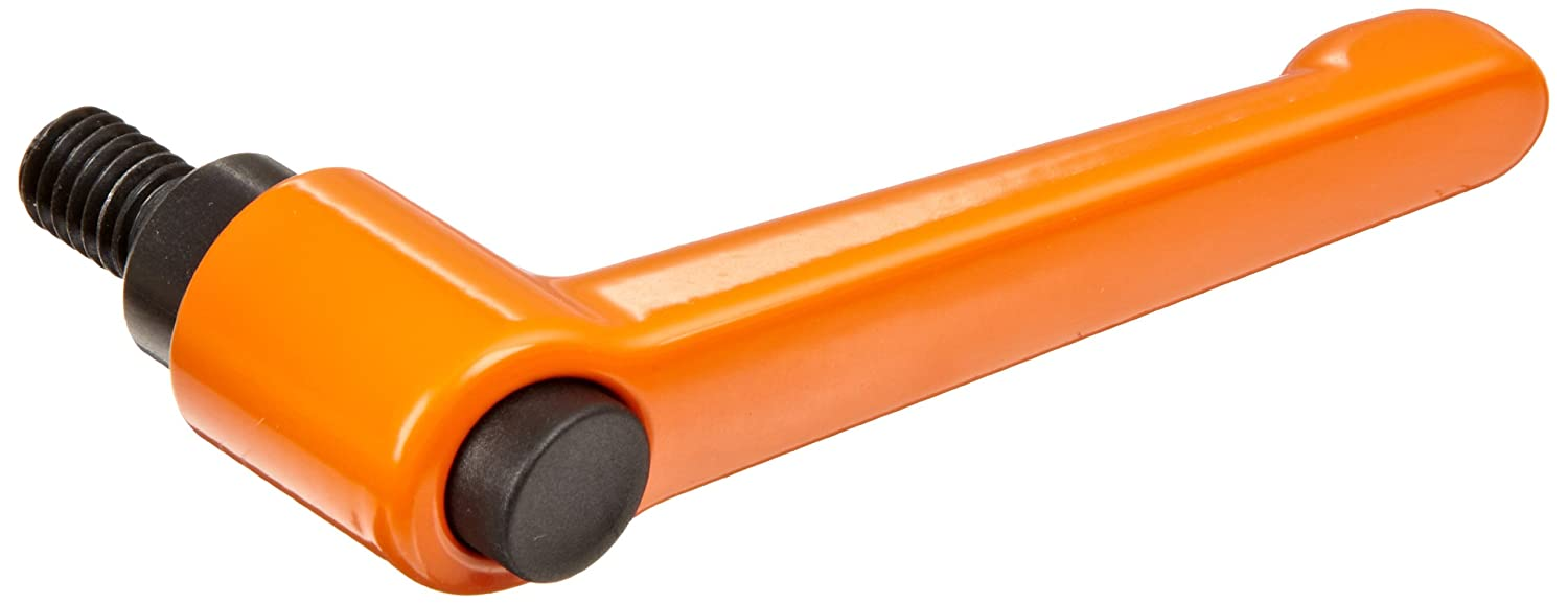 Die Cast Zinc Adjustable Handle with Orange Push Button S//S Threaded Stud 1-49//64 Length Pack of 1 1//4-20 TPI Thread 1-3//8 Height 15//32 Thread Length