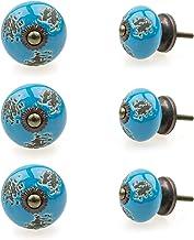 Möbelknopp möbelknopp möbelhandtag set av 6 122GN struktur stansmönster natur blå – jay knapp keramik porslin handmålade v...