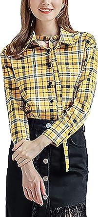 Tops Mujer Elegante Vintage Cuadros Camisa A Clásica ...