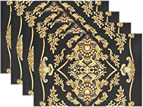 YATELI Placemats Gold Flower Metal Painting 12x18 inch Heat Resistant Set of 4 Non Slip for Dinning Kitchen