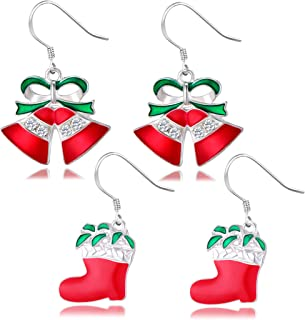 Joyin Toy 2 in 1 LED Light Up Bulb Christmas Flashing Earring and Necklace for Holiday Party Favors 2 Pack