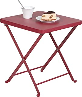 PHI VILLA Folding Patio Side Table Outdoor Steel Coffee Table, Small Patio End Tables, Red