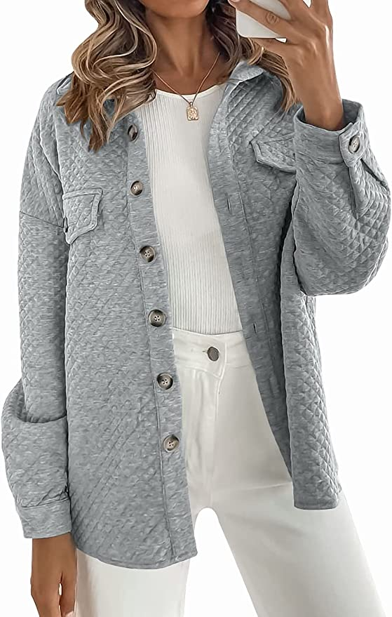 MUXERI Women's Long Sleeve Button Down Diamond Soft Lightweight Shacket Shirt Jacket Coat Outwear with Pockets