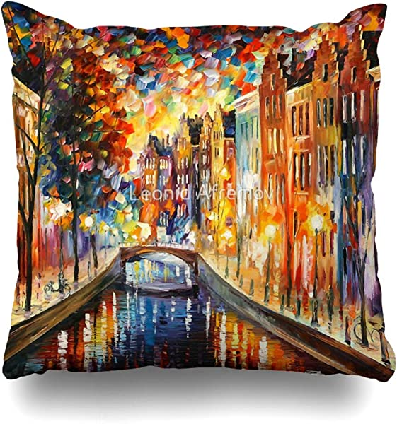 Ahawoso Throw Pillow Cover Square 16x16 Inches Amsterdam Night Canal Leonid Afremov Decorative Pillow Case Home Decor Pillowcase