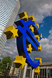 Sculpture of an Euro Sign in Front of a Building, Willy-Brandt-Platz, European Central Bank, Frankfurt, Hesse, Germany by Panoramic Images Art Print, 20 x 30 inches