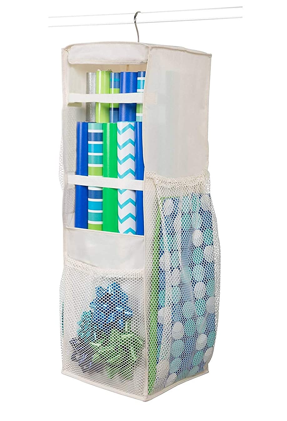 "Hanging Wrapping Paper Storage - Holds Up to 20 Rolls, 360 Swivel & Extra Durable Gift Wrap Organizer Bag with Side Bin Pockets for All of Your Birthday, Holiday (Ivory) 32"" x 11"" x 10"""