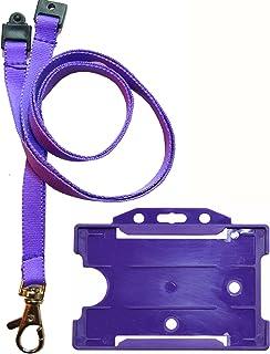 Customcard Cordon tour de cou avec clip en métal et porte-badge pour carte d'identité Violet