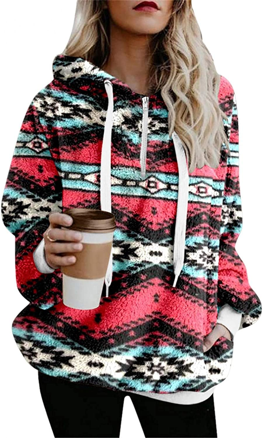 HCNTES Hoodies for Women Long Sleeve Zip Up Sweatshirt Fleece Fashion Printed Pullover Outwear Coat with Pockets