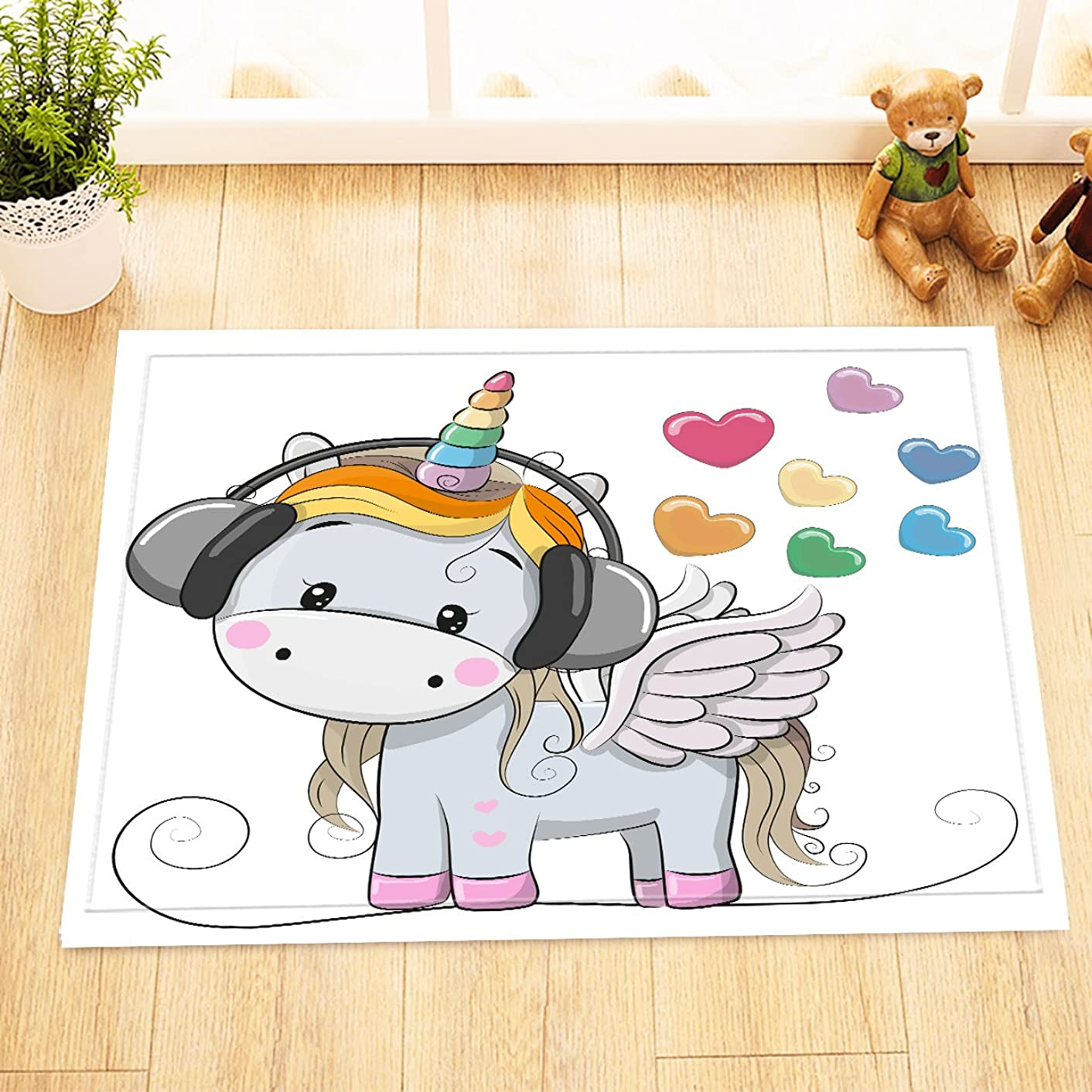 LB Cute Cartoon Unicorn n Music Heart Rugs for Bedroom Decoration, Soft Flannel and Non Slip Rubber Backing, Unicorn Theme Design House Decor for Bathroom 15 x 23 Inches