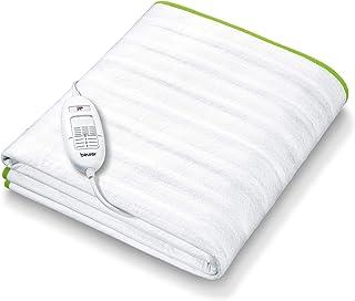 Beurer TS15 Calientacamas individual con tiras de sujeción, transpirable, tacto suave, lavable, 3 potencias, display iluminado, cama individual, 80x150cm, blanco