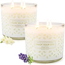 YMing Scented Candles for Home Aromatherapy Jar Candle Gifts Set for Women Soy Wax 3 Wick 14.5oz 125 Hours 2 Pack Lavender...