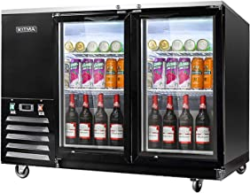 59'' Wide 2 Glass Door Back Bar Beverage Cooler - KITMA Stainless Steel 17.3 Cu.Ft Counter Height Refrigerator with LED Lighting, 33°F - 38°F