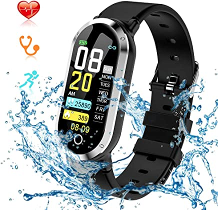 Fitness Tracker, Smart Watch with Blood Pressure Monitor IP67 Water Resistant Smart Bracelet with Continuous Heart Rate Sleep Monitor Pedometers Watch for for Android and iOS